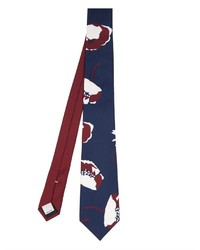 Cravate imprimée bleu marine et blanc