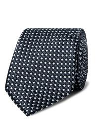 Cravate imprimée bleu marine et blanc Giorgio Armani