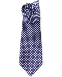 Cravate imprimée bleu marine et blanc Kiton