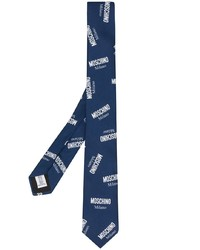 Cravate imprimée bleu marine et blanc Moschino