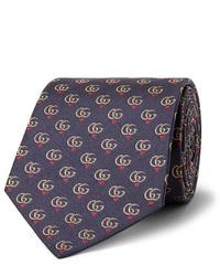Cravate imprimée bleu marine Gucci