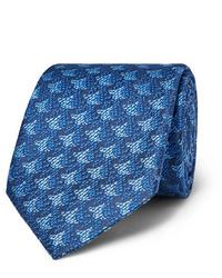 Cravate imprimée bleue Charvet