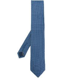 Cravate imprimée bleue Salvatore Ferragamo