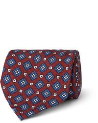 Cravate imprimée bordeaux