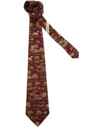 Cravate imprimée bordeaux Salvatore Ferragamo