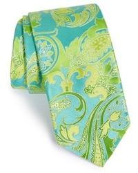 Cravate imprimée cachemire bleu marine et vert