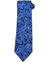 Cravate imprimée cachemire bleue