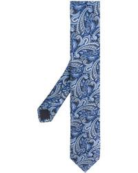 Cravate imprimée cachemire bleue Hugo Boss