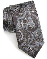 Cravate imprimée cachemire gris foncé