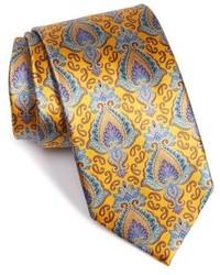Cravate imprimée cachemire jaune