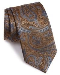 Cravate imprimée cachemire marron foncé