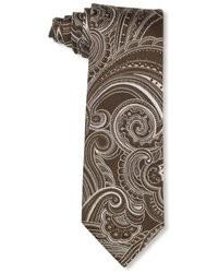 Cravate imprimée cachemire marron