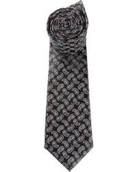 Cravate imprimée cachemire noire Canali