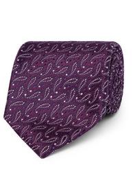 Cravate imprimée cachemire pourpre foncé Charvet