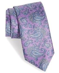 Cravate imprimée cachemire violet clair