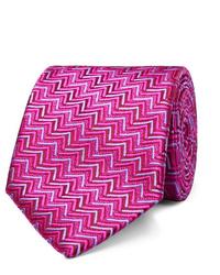 Cravate imprimée fuchsia Charvet