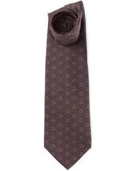 Cravate imprimée marron foncé Hermes