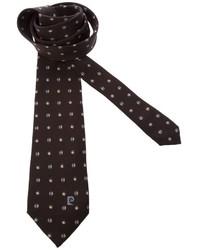 Cravate imprimée marron foncé Pierre Cardin