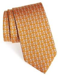 Cravate imprimée moutarde