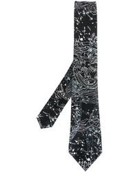 Cravate imprimée noire et blanche Versace