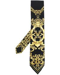 Cravate imprimée noire Versace