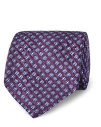 Cravate imprimée pourpre foncé Canali