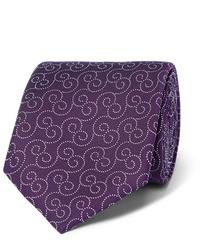 Cravate imprimée pourpre foncé Charvet