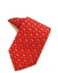 Cravate imprimée rouge et bleu marine