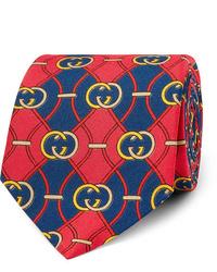 Cravate imprimée rouge et bleu marine Gucci