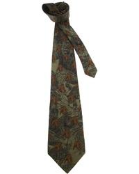 Cravate imprimée vert foncé