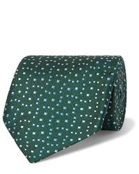 Cravate imprimée vert foncé Charvet
