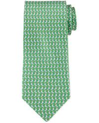 Cravate imprimée verte