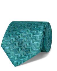 Cravate imprimée verte Charvet