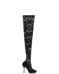 Cuissardes en toile noires Dolce & Gabbana