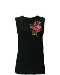 Débardeur à fleurs noir Dolce & Gabbana