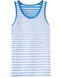 Débardeur à rayures horizontales blanc et bleu