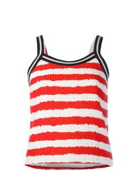 Débardeur à rayures horizontales blanc et rouge MSGM