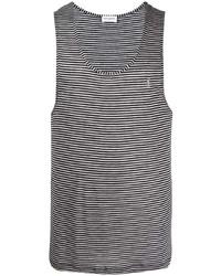 Débardeur à rayures horizontales gris Saint Laurent