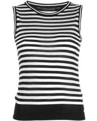 Débardeur à rayures horizontales noir et blanc Ermanno Scervino