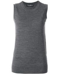 Débardeur en laine en tricot gris foncé Dolce & Gabbana