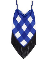 Débardeur en soie à carreaux bleu Balenciaga