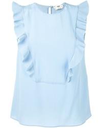 Débardeur en soie bleu clair Fendi