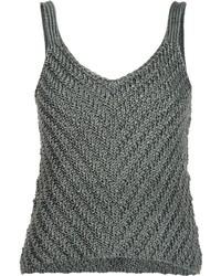 Débardeur en soie en tricot olive Helmut Lang