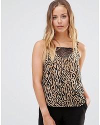 Débardeur imprimé léopard brun clair