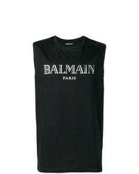 Débardeur imprimé noir et blanc Balmain
