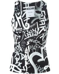 Débardeur imprimé noir et blanc Moschino
