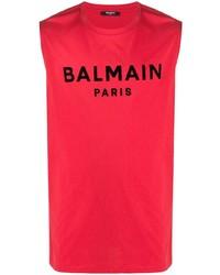 Débardeur imprimé rouge Balmain