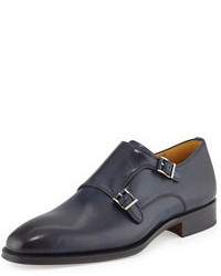 Double monks en cuir bleu marine