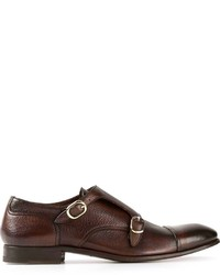 Double monks en cuir marron