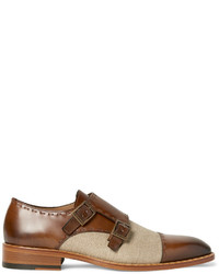 Double monks en cuir marron Etro